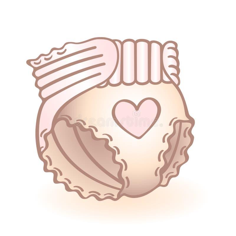 O tecido recém-nascido do bebê, fralda com coração cor-de-rosa deu forma à decoração Ícone infantil do vetor Artigo da criança ilustração royalty free