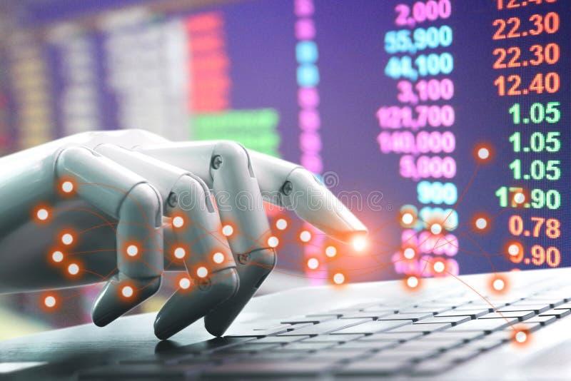 O teclado de computador da pressão de mão do robô do chatbot da tecnologia de rede entra do investimento fotos de stock royalty free