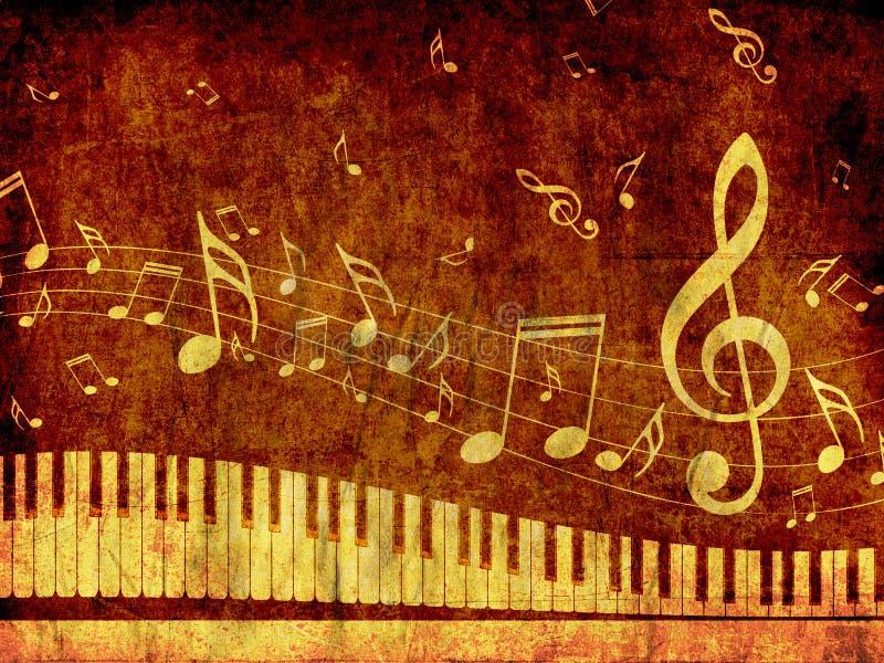 O teclado de piano com música nota o Grunge ilustração do vetor