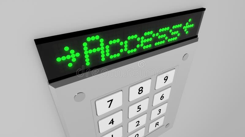 O teclado de prata do número com um verde do acesso conduziu a exposição ilustração stock