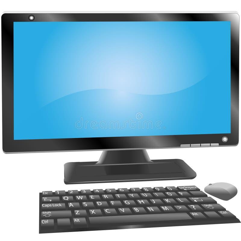 O teclado do monitor do computador do computador de secretária etiqueta o rato ilustração stock