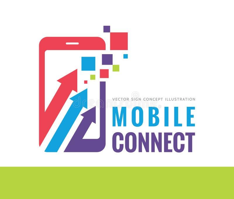 O telefone celular conecta a ilustração do conceito do molde do logotipo do vetor Sinal criativo de Smartphone ilustração stock