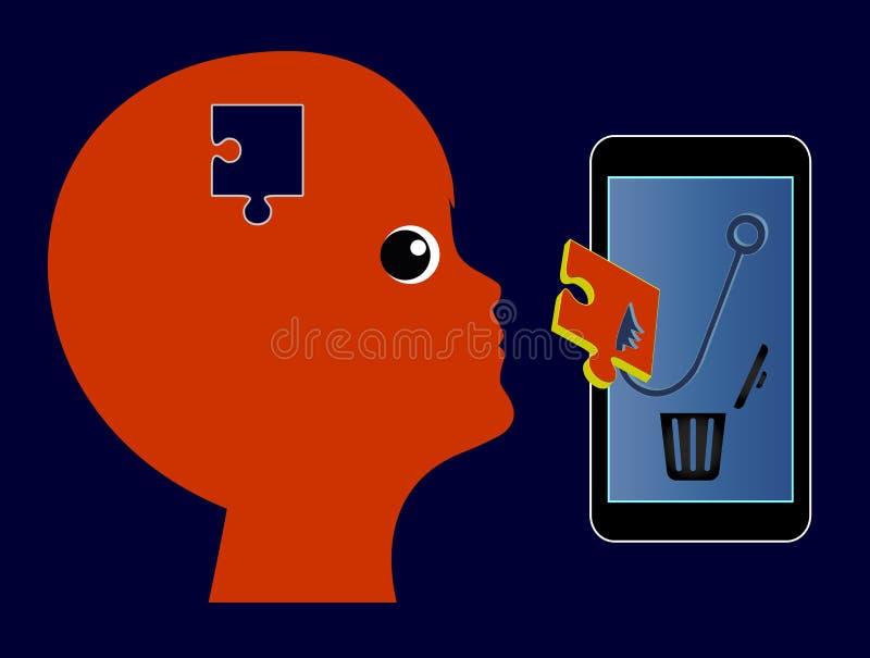 O telefone celular controla a mente da criança ilustração do vetor
