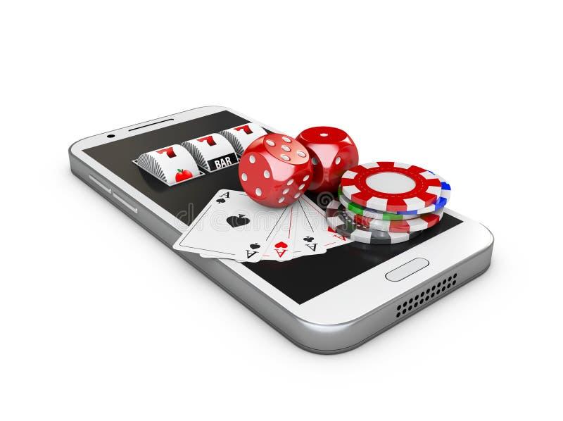 O telefone celular e o slot machine com jogo cardam, dados e microplaquetas, conceito em linha do casino ilustração 3D ilustração royalty free
