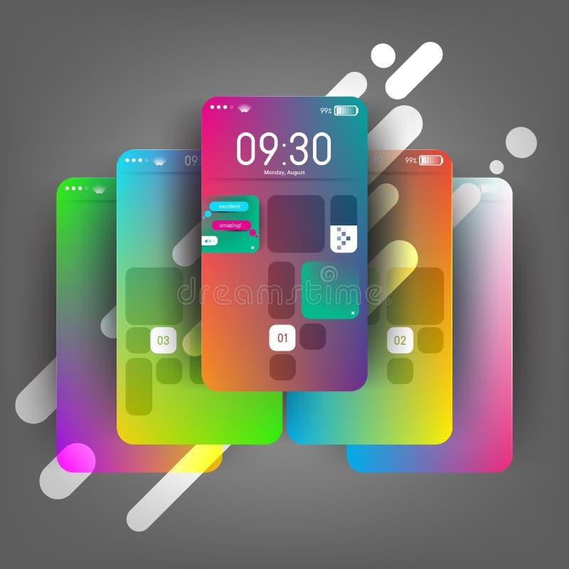 O telefone celular moderno, colorido do dispositivo, phablet, tabuleta, dispositivo seleciona o modelo Modelo para seu UX, projet ilustração royalty free