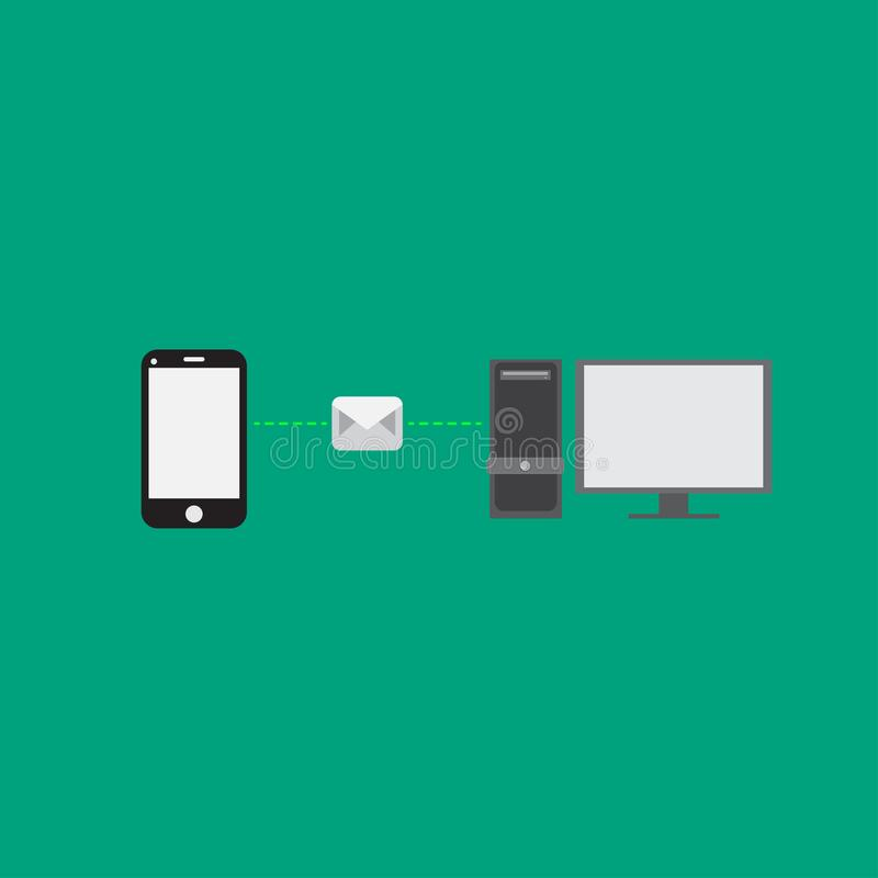 O telefone está enviando o e-mail ao computador O telefone está enviando a mensagem ao computador Projeto liso Ilustrador do veto ilustração stock