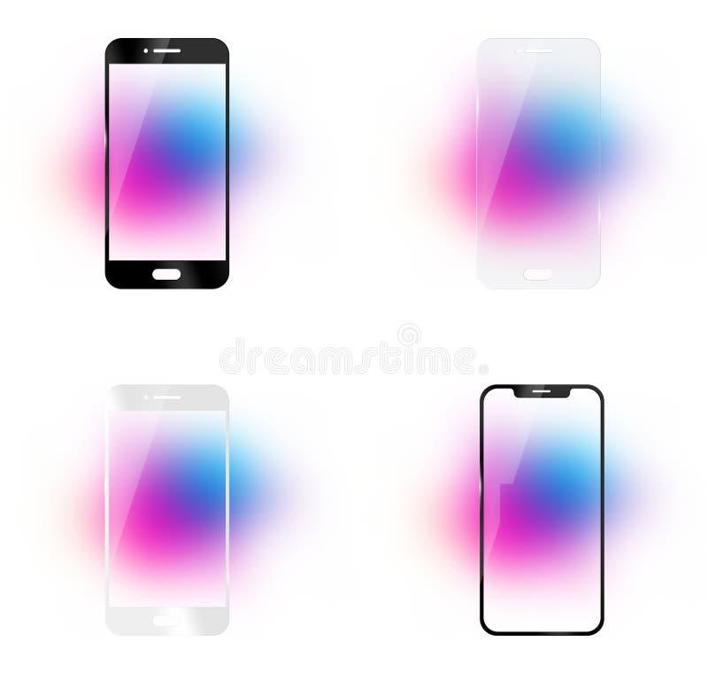 O telefone moderou o vidro imagens de stock