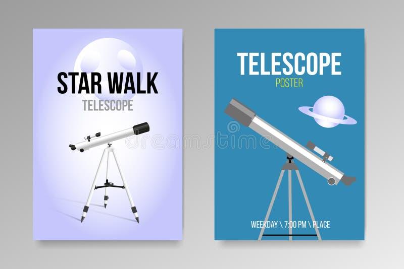 O telescópio com ícone realístico do projeto dos cartazes do céu noturno isolou-se ilustração royalty free