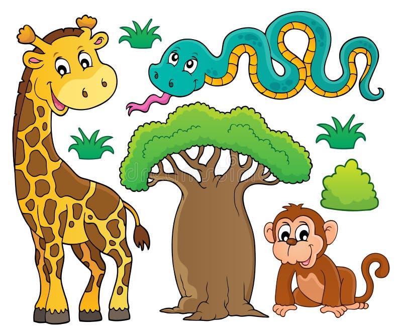 O tema africano da natureza ajustou 1 ilustração royalty free