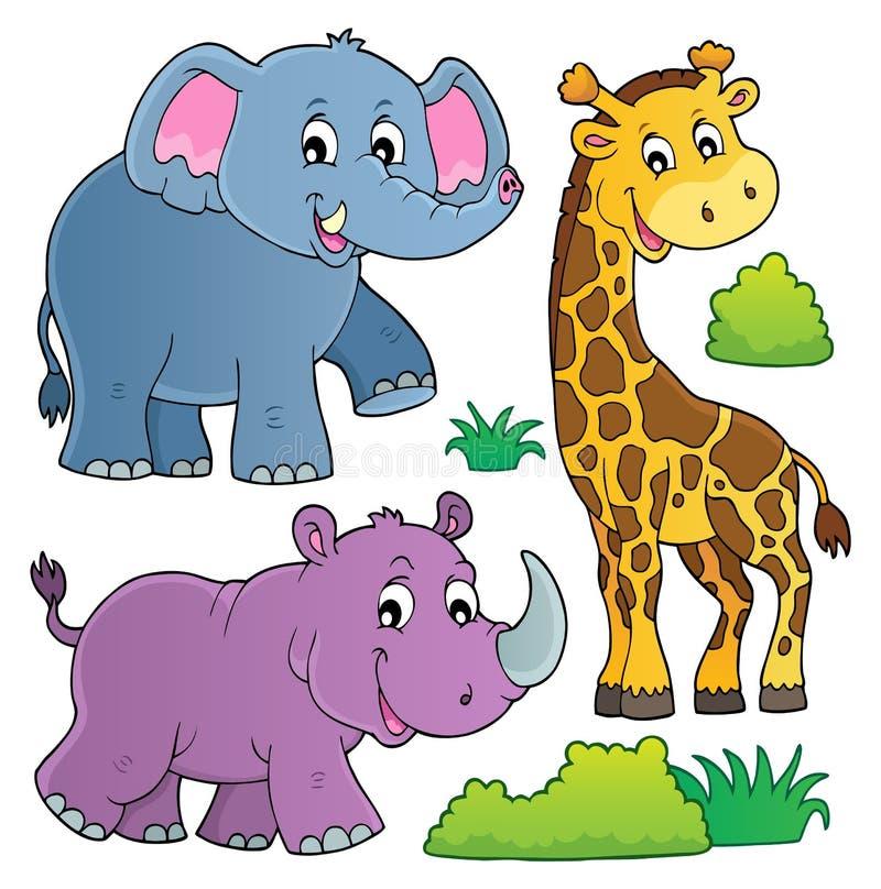 O tema africano da natureza ajustou 2 ilustração do vetor