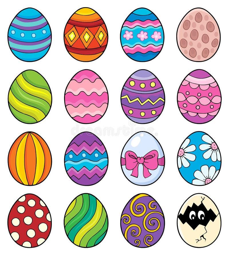O tema decorativo dos ovos da páscoa ajustou 1 ilustração stock