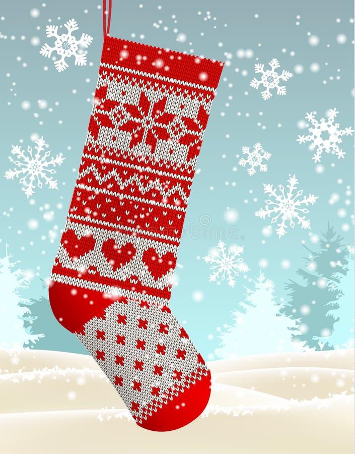 O tema do inverno do feriado, vermelho fez malha a meia do Natal, ilustração ilustração stock