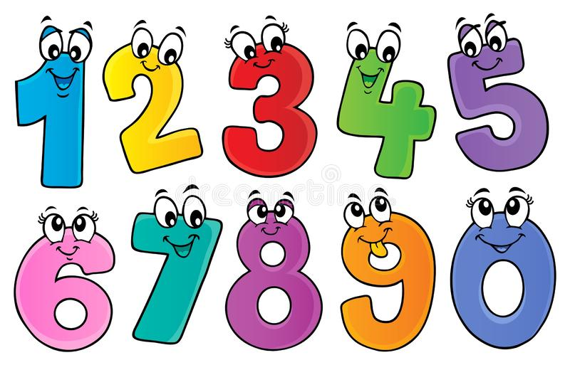 O tema dos números dos desenhos animados ajustou 1 ilustração do vetor
