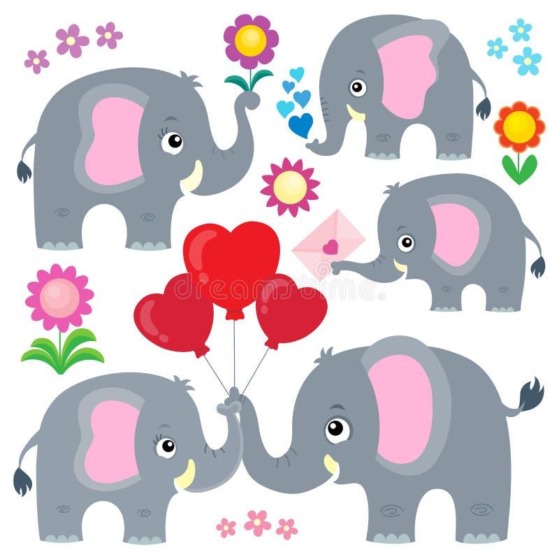 O tema estilizado dos elefantes ajustou 4 ilustração stock