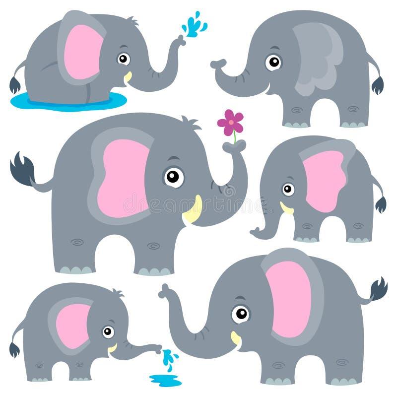 O tema estilizado dos elefantes ajustou 1 ilustração do vetor