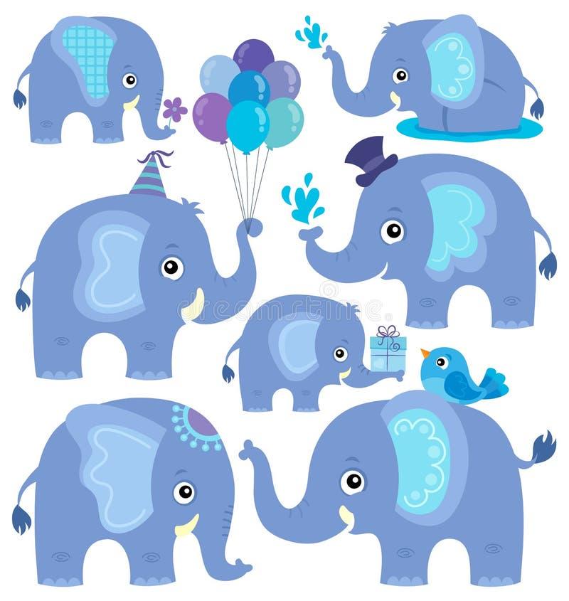 O tema estilizado dos elefantes ajustou 2 ilustração stock