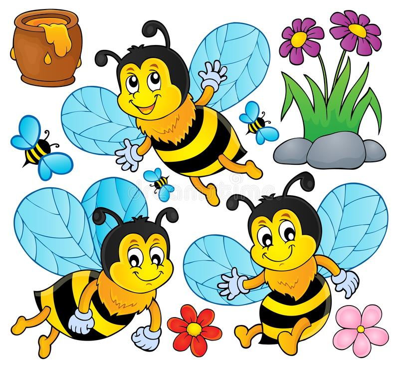 O tema feliz das abelhas da mola ajustou 1 ilustração stock