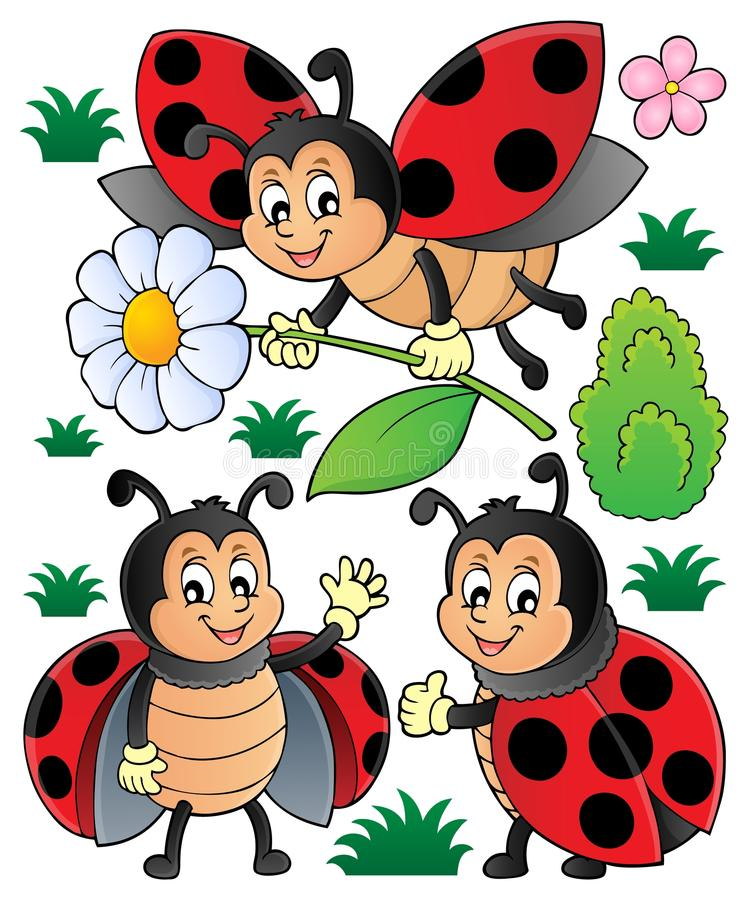 O tema feliz dos joaninhas ajustou 1 ilustração royalty free