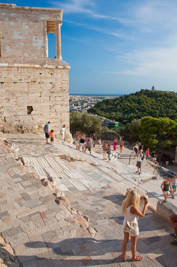 O templo de Athena Nike em agosto de 2013. Atenas, Grécia. fotos de stock royalty free