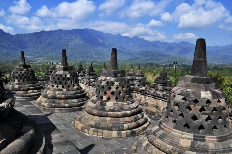 O templo de Borobudur é um destino do turista em Ásia - Indonésia imagens de stock