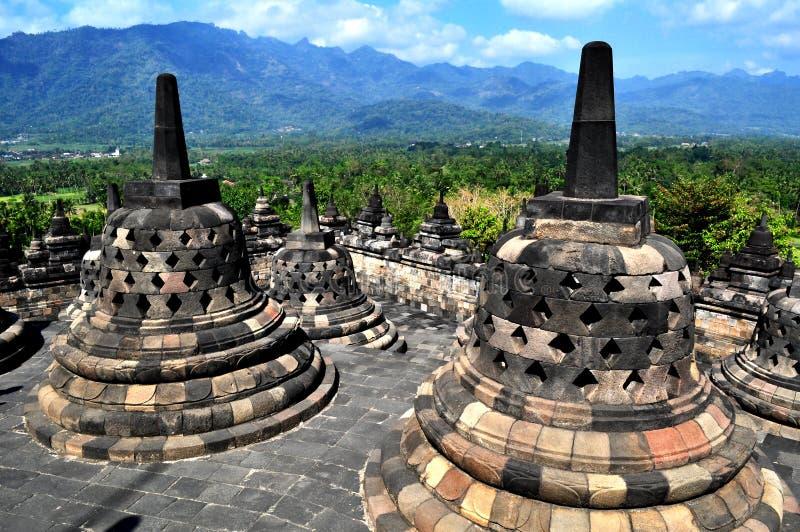 O templo de Borobudur é um destino do turista em Ásia - Indonésia fotos de stock