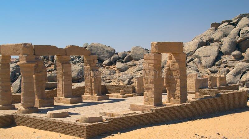 O templo de Gerf Hussein (perto de Aswan, de Egipto) imagem de stock
