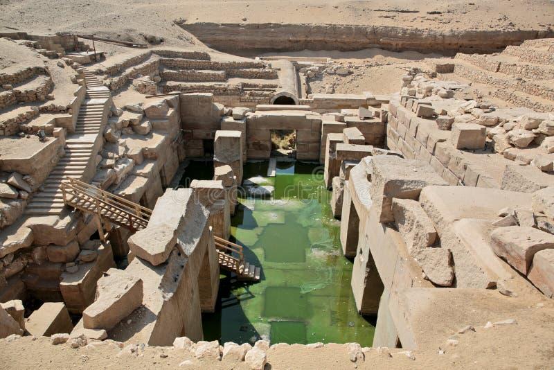 O templo de Osirion em Abydos, Egito fotografia de stock