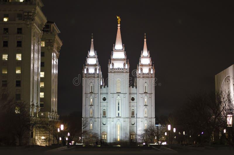 O templo de Salt Lake City na noite fotos de stock royalty free