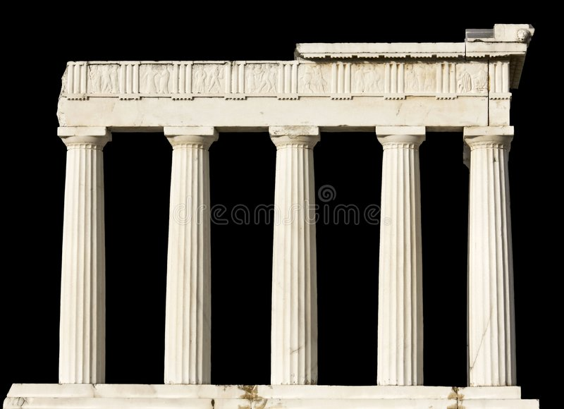 O templo do grego clássico isolou-se imagens de stock royalty free