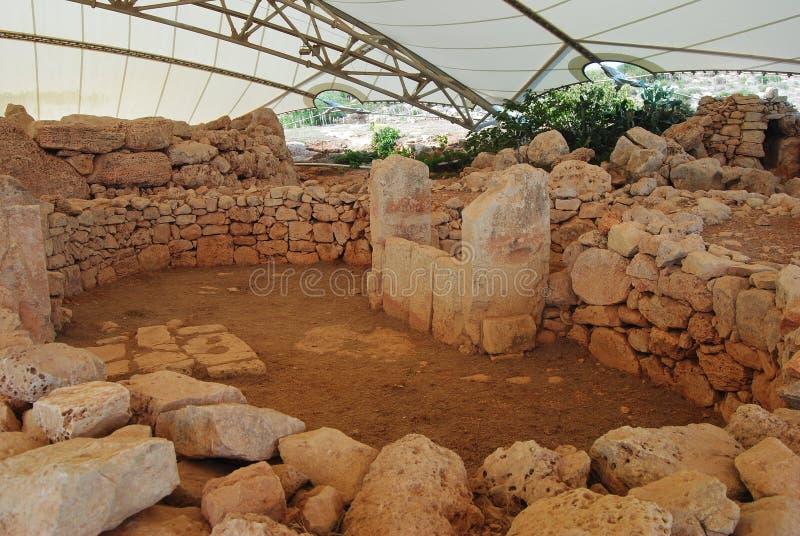 O templo do leste de Mnajdra em Malta fotos de stock royalty free