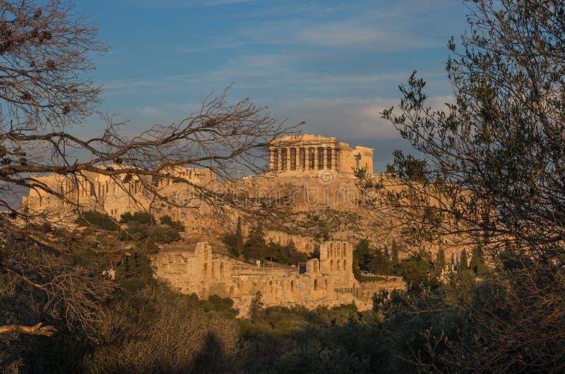 O templo do Partenon na acrópole de Atenas fotos de stock royalty free