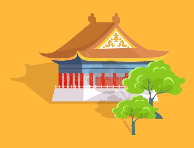 O templo o mais velho de Confucius no plano e na sombra de Taiwan ilustração stock