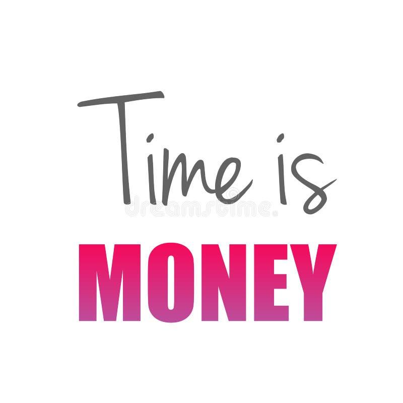 O tempo é provérbio inglês velho do dinheiro para mostrar o valor do tempo ilustração royalty free