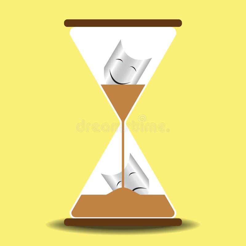 O tempo cura o conceito do vidro da areia ilustração royalty free