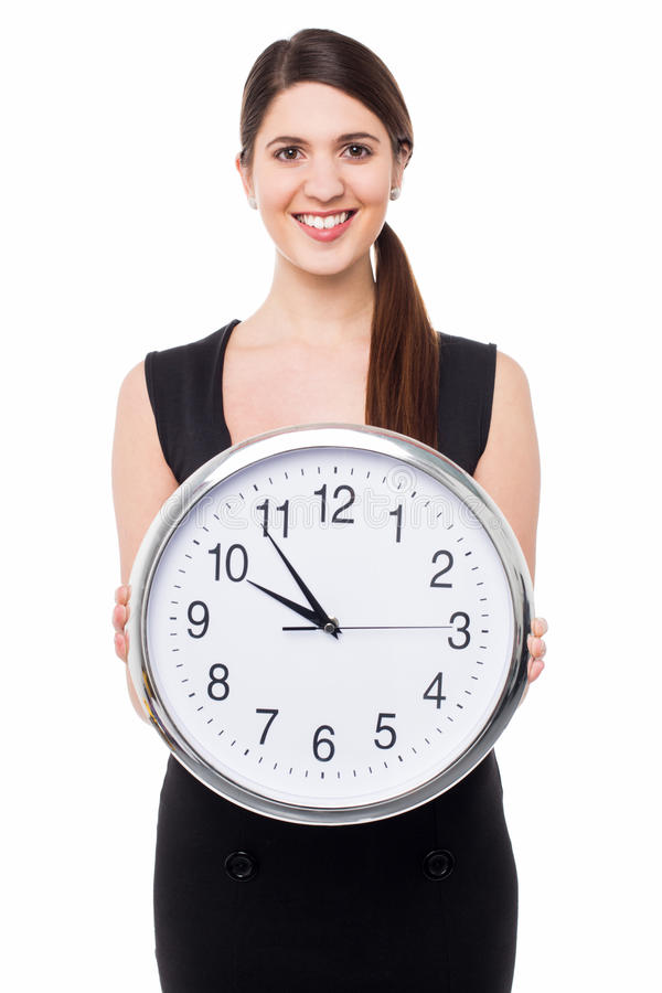 O tempo da reunião será declarado em cinco minutos fotografia de stock
