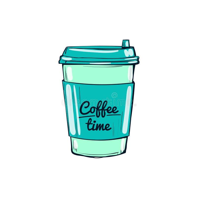 O tempo do café, coloca a ilustração desenhado à mão ilustração do vetor