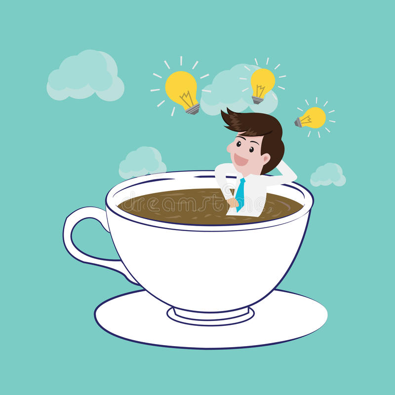 O tempo do café está feliz e cria a ideia ilustração royalty free