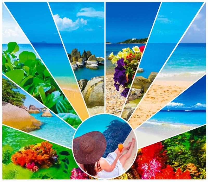 O tempo do feriado, verão, praia, curso, férias, conceito do mar fotos de stock royalty free