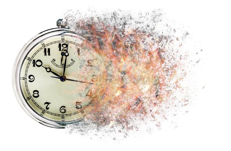 O tempo está correndo para fora mostras do conceito cronometra que se está dissolvendo afastado fotografia de stock