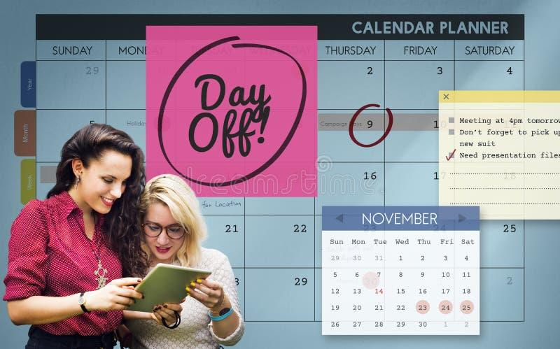 O tempo livre do dia livre relaxa o conceito da programação do feriado das férias foto de stock
