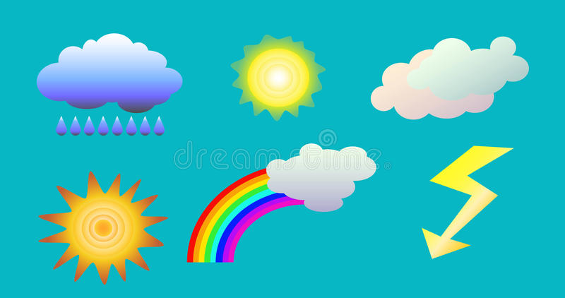 O tempo objeta o clipart ilustração das nuvens, do sol, do arco-íris, da chuva e do flash para a previsão de tempo ilustração do vetor