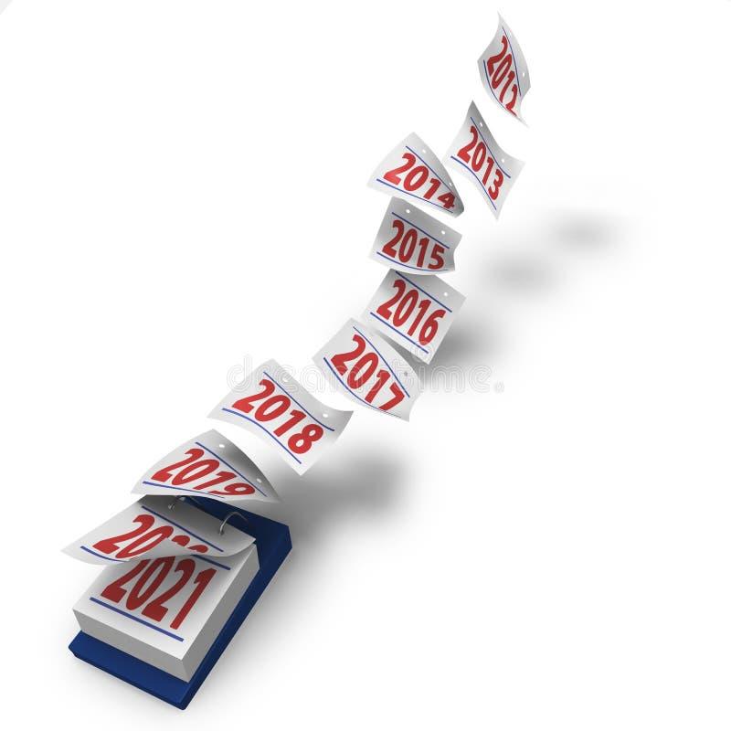 O tempo voa mostrando a década desde 2012 até 2021 ilustração stock