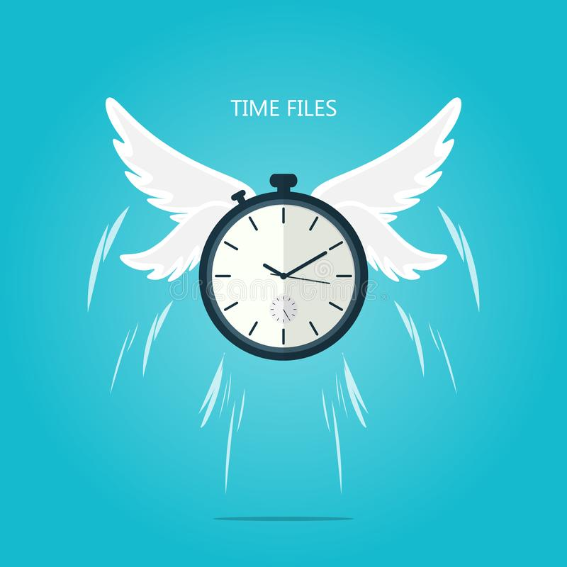 O tempo voa o vetor do plano de asa ilustração do vetor