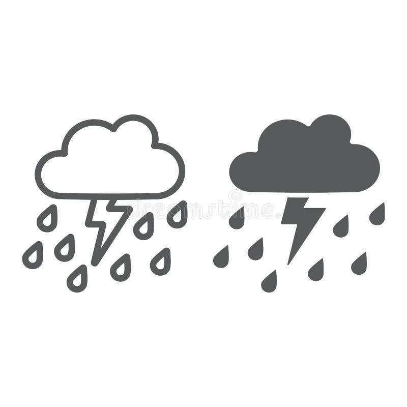 O temporal com linha da chuva e ícone do glyph, o tempo e a previsão, trovejam o sinal, gráficos de vetor, um teste padrão linear ilustração stock