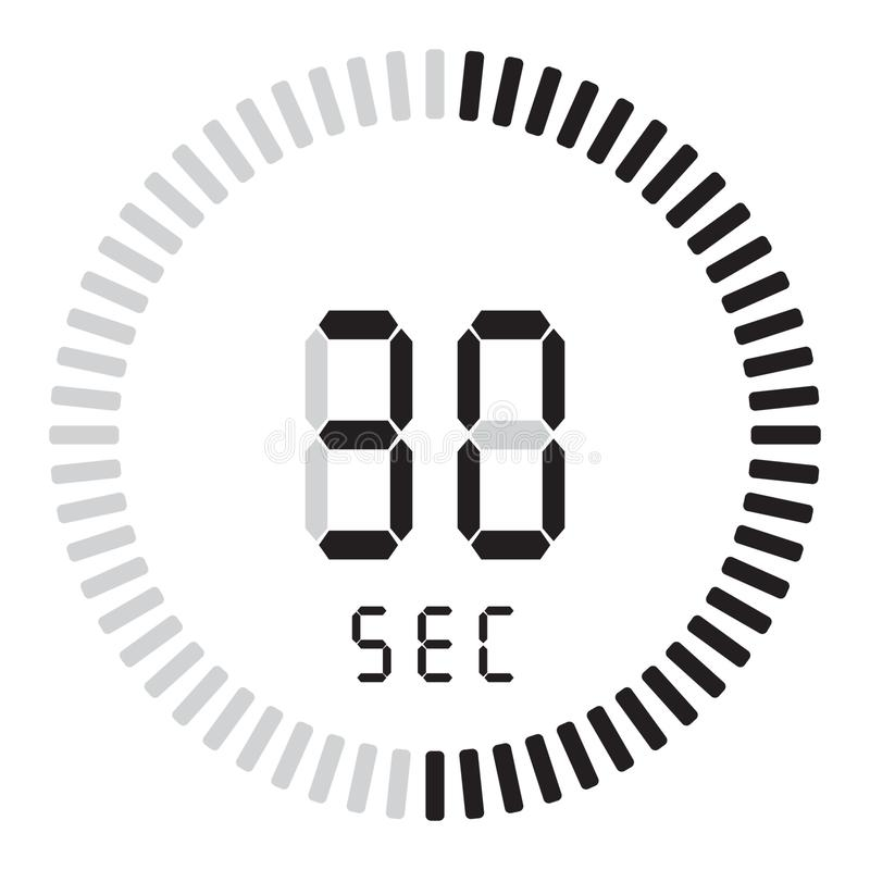 O temporizador digital 30 segundos cronômetro eletrônico com um seletor do inclinação que liga o ícone do vetor, o pulso de dispa ilustração do vetor