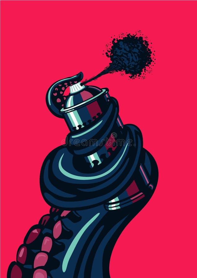 O tentáculo do polvo está guardando uma lata de pulverizador do graffity Ilustração cotemporary subterrânea do artista ilustração do vetor
