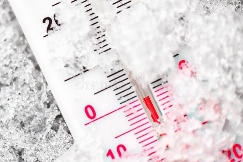O termômetro marca os diplomas zero no frio na neve fotos de stock