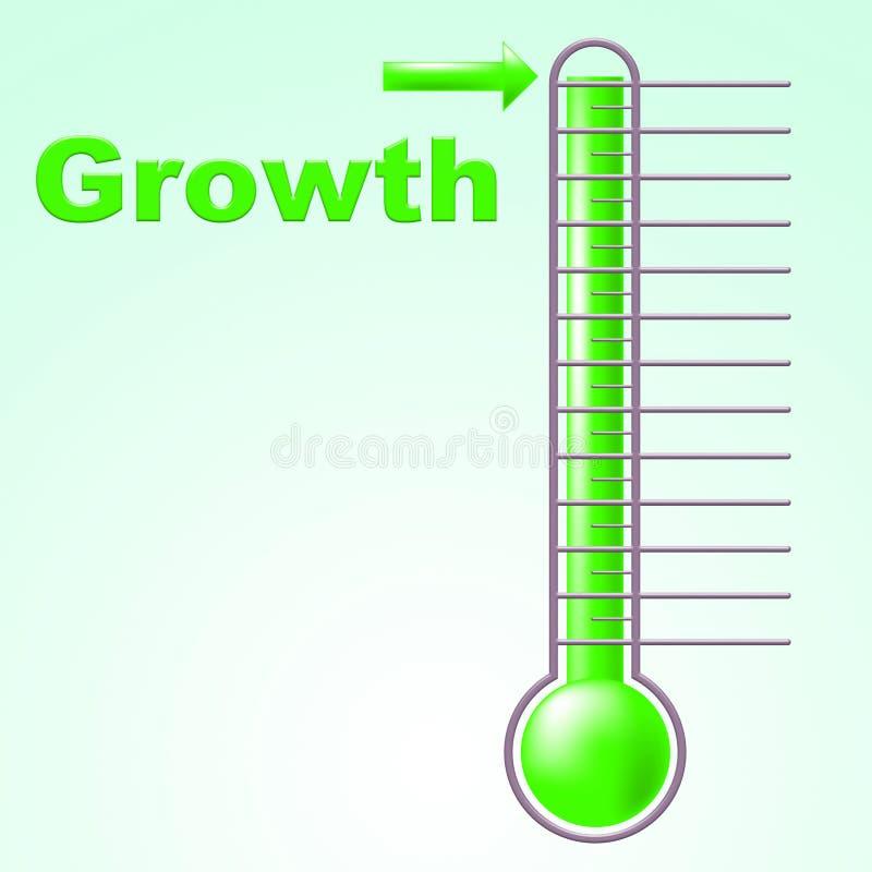 O termômetro do crescimento indica a escala e o desenvolvimento da elevação ilustração royalty free