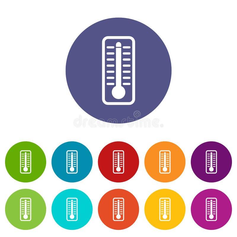 O termômetro indica ícones ajustados da alta temperatura ilustração stock