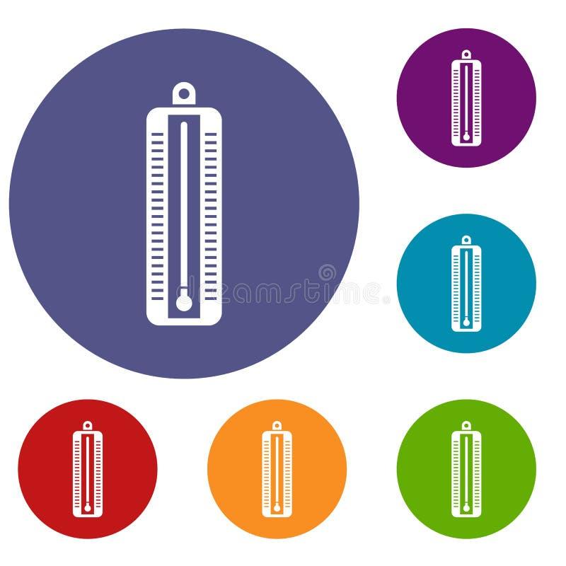 O termômetro indica os ícones da baixa temperatura ajustados ilustração royalty free